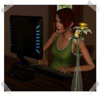 My Sim working on her sci-fi novel. Yes, novelist is a career option
